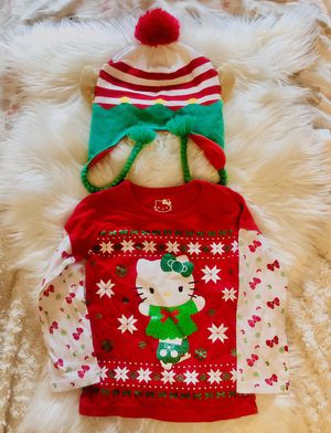 Girl size 5 Christmas hat and hello kitty top for Sale in Brooklyn, NY