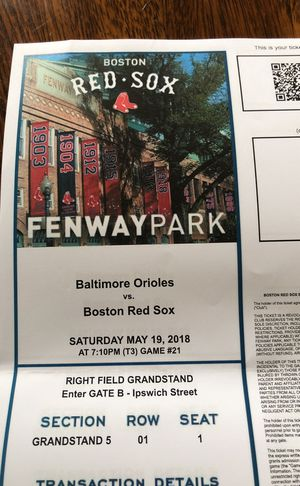 Red Sox Tickets. Saturday May 19 for Sale in Waltham, MA