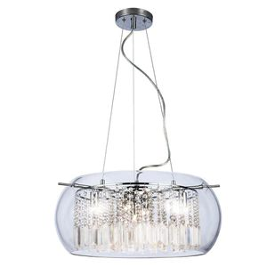HDC-Baxendale 5-Light Chrome Chandelier with Clear Glass Shade and Clear Hanging Crystals for Sale in Dallas, TX