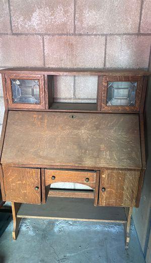 Wood antique desk for Sale in Riverside, CA