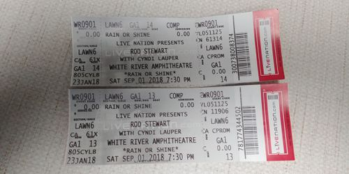 Two tickets to see Rod Stewart and Cyndi Lauper for Sale in Yakima,  WA