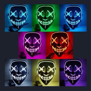 New halloween costume mask cosplay rave party LED glow scary mask costume party orange pink green or white purge movie dance club 2 AA Battery Requir for Sale in West Covina, CA