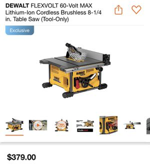 DEWALT FLEXVOLT 60-Volt MAX Lithium-Ion Cordless Brushless 8-1/4 in. Table Saw (Tool-Only) for Sale in Concord, CA