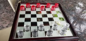 Collectible IN N OUT burger glass peices wooden box chess game for Sale in Santa Fe Springs, CA