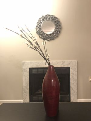 Red vase with lighting flowers for Sale in St. Louis, MO