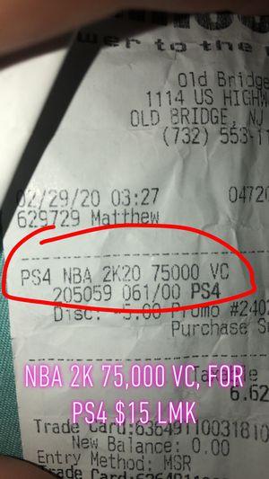 NBA2k20 75,000 VC (PS4) for Sale in Sayreville, NJ
