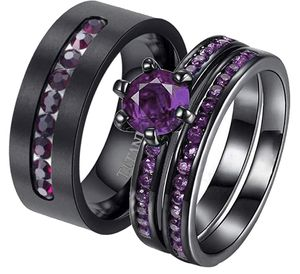 Couple Rings Black Gold Filled purple Cz Womens Wedding Ring Sets Purple Cz Titanium Steel Mens Ring Wedding Bands size 6-12 for Sale in Los Angeles, CA