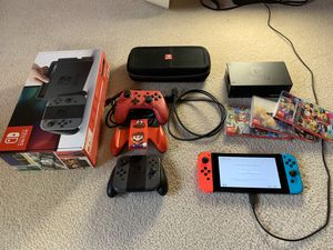 Nintendo Switch 3 Games, 3 Controllers, Case, Dock, and Cables for Sale in Frisco, TX