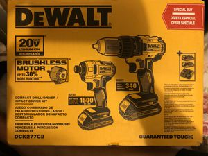 DEWALT 20 VOLT MAX Brushless motor compact drill/driver/impact driver kit DCK277C2 for Sale in Durham, NC