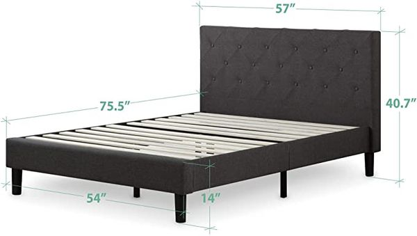 FULL SIZE: Zinus Shalini Upholstered Diamond Stitched Platform Bed / Mattress Foundation