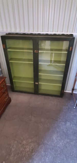 GORGEOUS Green Glass Curio Cabinet Antique Well Made Rare Latching Doors Unique One of a Kind Furniture for Sale in Phoenix, AZ