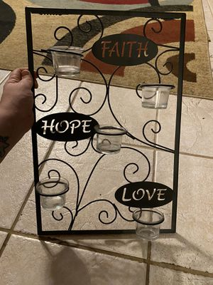 Faith,hope,love Candle holder plus wall accents for Sale in Houston, TX
