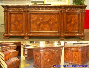 Desk, double pedestals, new wood and leather, hand carved for Sale in Industry, CA