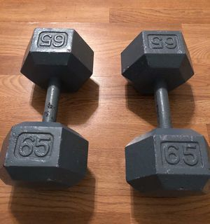 65 Pound Hex Dumbbells (pair) for Sale in Dallas, TX