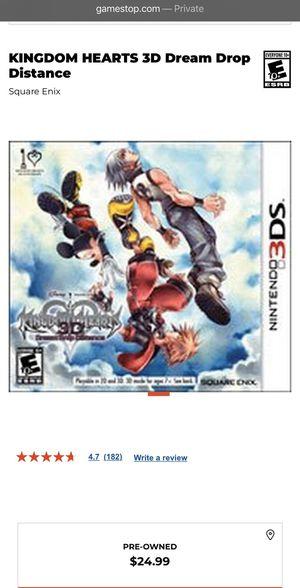 Nintendo 3DS Kingdom Hearts 3D Dream Drop Distance for Sale in Las Vegas, NV