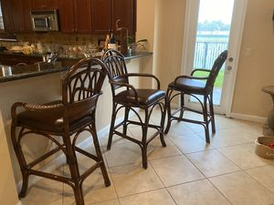 Wooden Wicker Bar Stools Set of 3 for Sale in West Palm Beach, FL