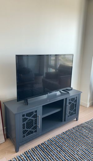 Modern Blue Grey TV stand with storage for Sale in Boston, MA