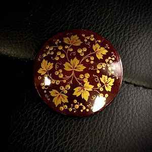 Vintage Antique Hand Painted Circle Russian Burgundy And Yellow Leaves 2 Inch Brooch Pin for Sale in Sterling, VA
