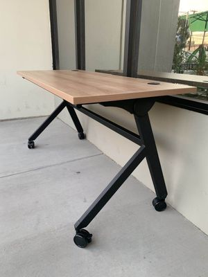 New in box HON Flip Base Wheat or White Color Laminate Top Office Computer Desk Conference Table 60x24x30 inches Tall Locking Wheel MSRP $500 for Sale in Whittier, CA