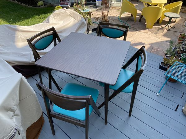 Vintage mid-century Stakmore wood folding table & 4 teal chairs