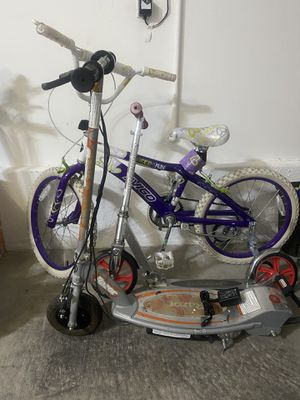 Girls bike, folding razor scooter and razor electric scooter for Sale in Las Vegas, NV