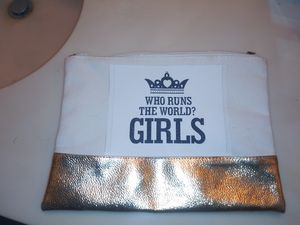 Khaki material and bronze clutch bag for Sale in Maryland Heights, MO