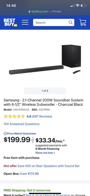 "Samsung 2.1Channel 200W Soundbar System with 6-1/2"" Wireless Subwoofer for Sale in East Windsor, NJ"