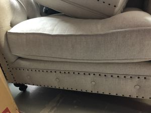 Bernhardt linen tufted chair & ottoman for Sale in Palm Shores, FL