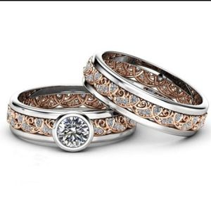 2Pcs / Set Exquisite 18K Rose Gold Two Tone 925 Sterling Silver Ring size 7 for Sale in Tacoma, WA