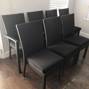 7 Brand New Outdoor Patio Dining Chairs (w/cushion) - Poly Faux Wicker for Sale in San Antonio, TX
