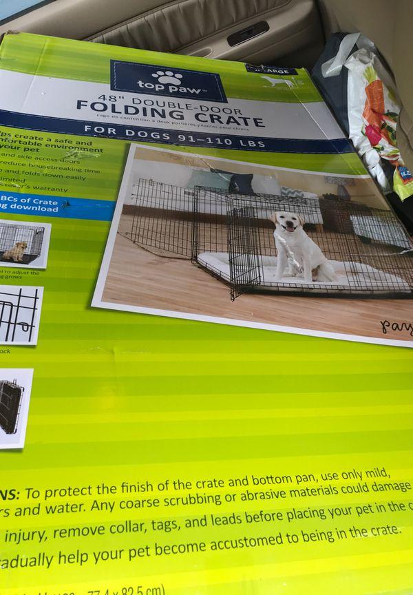 "XL Dog Crate 48"" Double Door Folding"
