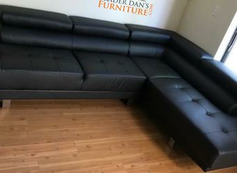 Bramd New Black Faux Leather Sectional Sofa Couch for Sale in Silver Spring,  MD
