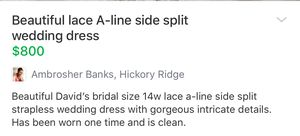 Size 14 w David's bridal wedding dress for Sale in Eno Valley, NC
