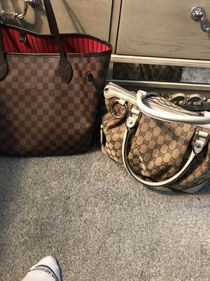 Gucci and Louis Vuitton bag with Gucci flip-flops for Sale in Philadelphia, PA