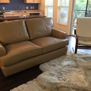 Arhaus Apartment Size Sofa ,Top Grain Italian Leather, Tan for Sale in Springfield, VA