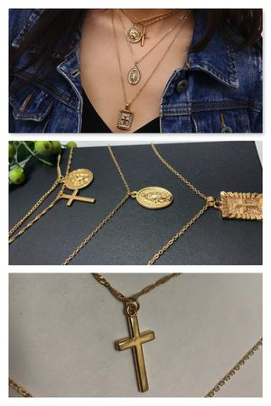 18K Gold Plated Bohemia Jesus Cross Necklace Multi 4 Layer Chain Charm Pendant Choker Necklace For Girls for Sale in Irvine, CA