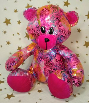 """Pink Shiny Stuffed Animal Teddy Bear With Colorful Floral Pattern 16"""" for Sale in Tacoma, WA"""