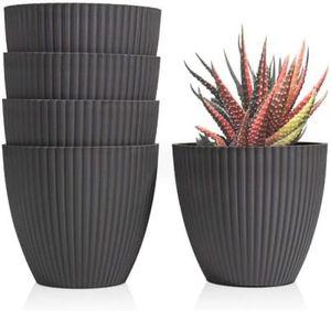 Dark Grey Modern Minimalist 6 Inch White Plastic Pots Set of 5 for Sale in Corona, CA