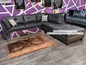 We Finance 😁 Visit Our Showroom - Espresso Reversible Chaise Couch Sofa Sectional With Ottoman for Sale in Los Angeles, CA