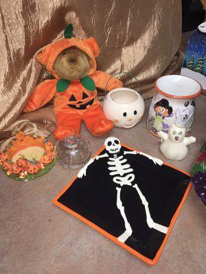 Halloween Lot: Skelton Plate, candle holders, teddy bear plush, & wax warmer for Sale in El Mirage, AZ