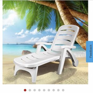 Adjustable Folding Patio Chaise Deck Chair Lounger 5 Position Recliner w/ Wheels for Sale in La Puente, CA