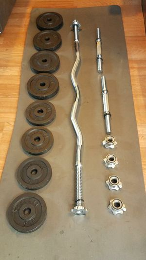 Standard 4 foot curl bar 2x dumbbell handles and 52lbs weight set for Sale in Montebello, CA