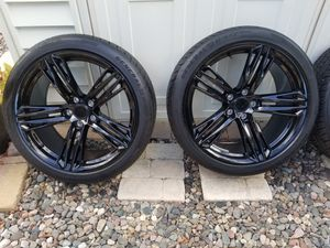 New Camaro ZL1 20in staggered 9 & 10 rims & tires w TPMS SPLINE & LOCK LUGS for Sale in San Diego, CA