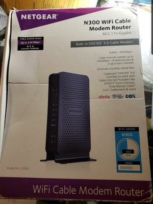 NETGEAR N300 (8x4) WiFi DOCSIS 3.0 Cable Modem Router (C3700) Certified for Xfinity from Comcast, Spectrum, Cox, Spectrum & more for Sale in Santa Ana, CA