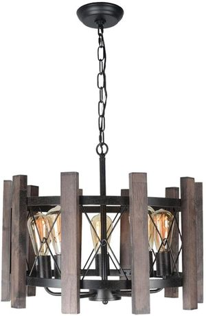 Baiwaiz Round Farmhouse Chandelier Light, Metal and Wood Pendant Light Fixture Drum Chandelier Rustic Dining Room Light 5 Lights Edison E26 072 for Sale in Torrance, CA