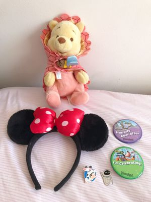 Walt Disney Bundle Lot Official Merch (Mickey/Minnie Mouse Ears, Winnie the Pooh Baby Plush Toy, Enamel Pins, Wall-E, etc) for Sale in Garden Grove, CA