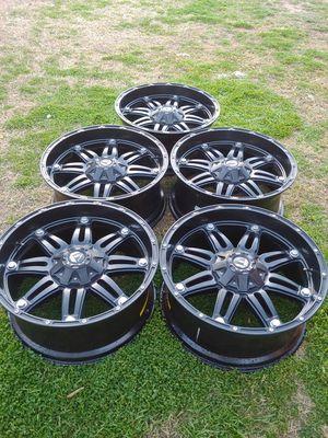 5) 22x9.5 fuel black wheels 5x5 or 5x139.7 bolt pattern for Sale in Glendale, AZ