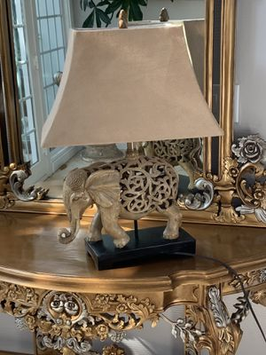 One per Very unique and beautiful table lamp, it came all the way from India and they all hand carve.great choice for elephant lovers for Sale in Laguna Niguel, CA