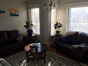 Leather couch, love seat, table, two end tables & lamps room set for Sale in Washington, DC