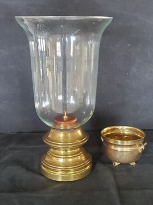 Large Vintage Blown Glass Hurricane and Solid Brass Pillar Candle Holder Movie Prop for Sale in Cincinnati, OH